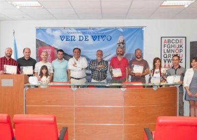 Os autores galardoados que asistiron á entrega de premios con membros da organización CONCURSO SAT 2017